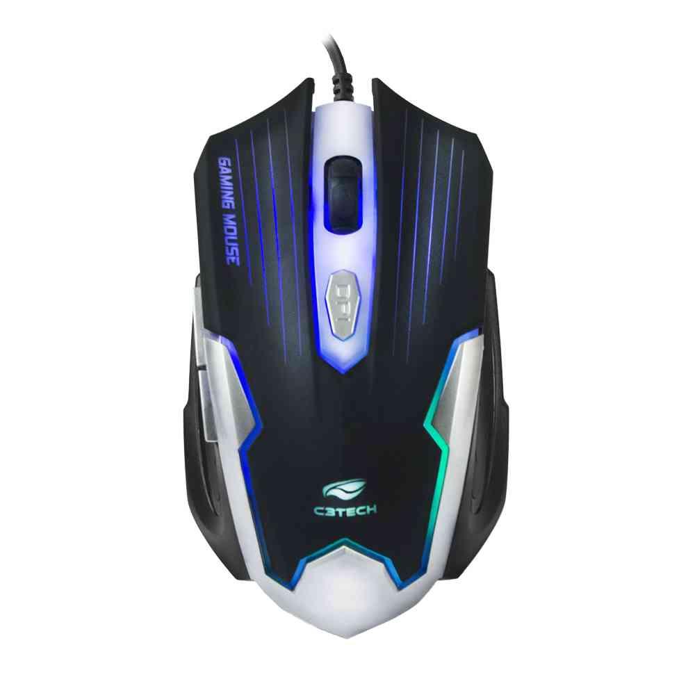 Mouse Game USB MG-11BSI Preto/Prata C3Tech