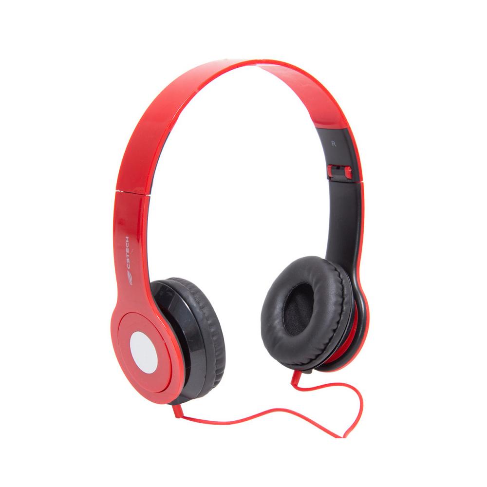 Fone Com Microfone Dobravel PH-100RD Vermelho C3Tech
