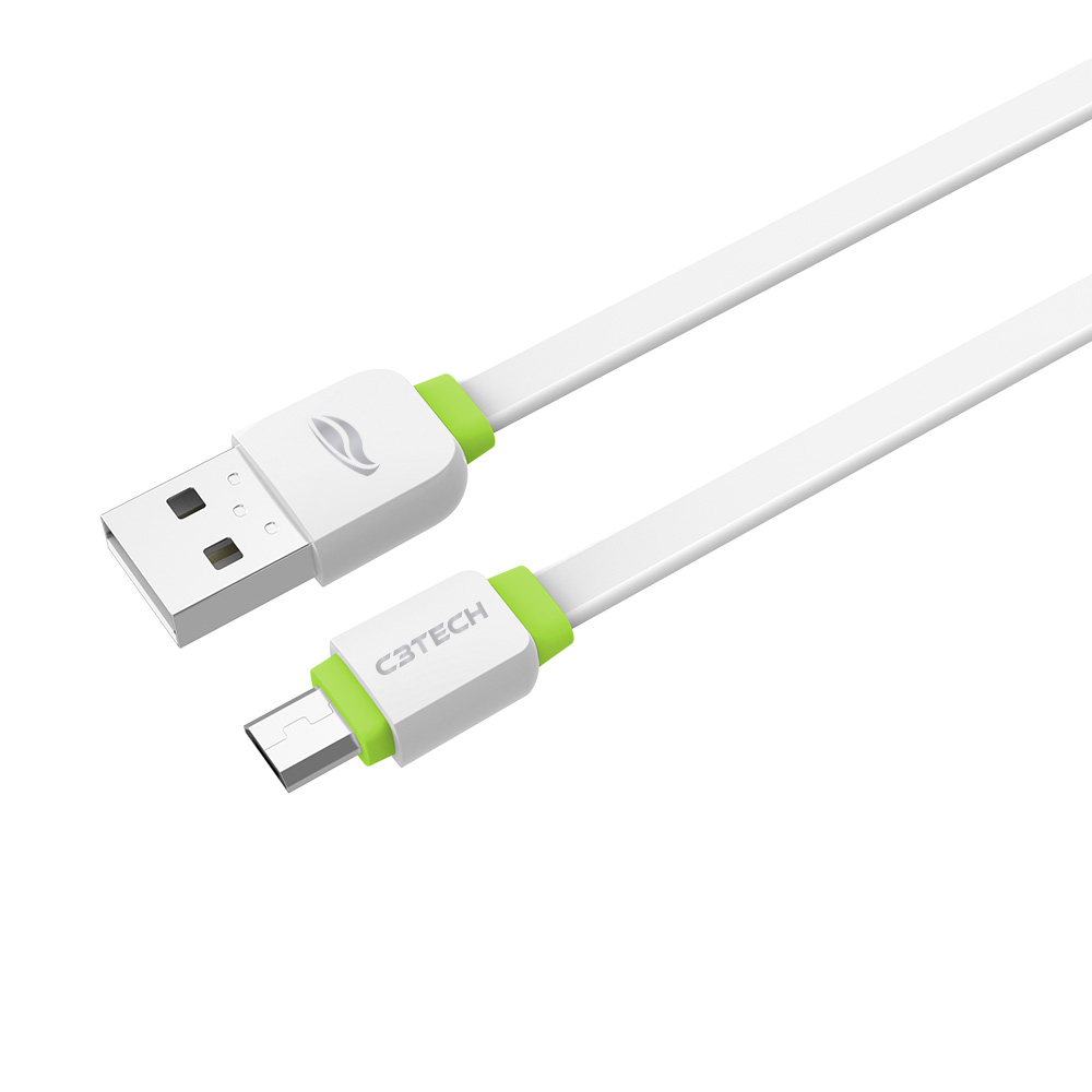 Cabo USB-Micro USB 2,0A 1m CB-100WH Branco C3Tech