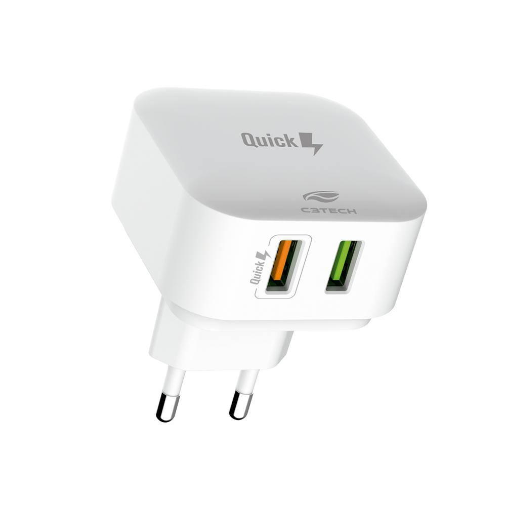 Carregador Universal AC/USB Quick Charge 3.0 UC-Q230WH C3Tech